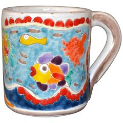 Italian Giovanni Desimone Hand Painted Art Pottery Decor Mug, Cup Fish Family