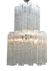 Italian Mid-Century Modern Two Tier Long Crystal Tronchi Shades Chandelier