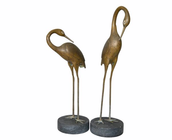 Hollywood Regency Asian Style Bronze Crane Sculptures Black Marble Base - a Pair