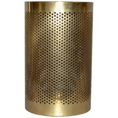 Vintage Frontgate Brass Italian Perforated Trash Waste Basket, Waste Can Italy