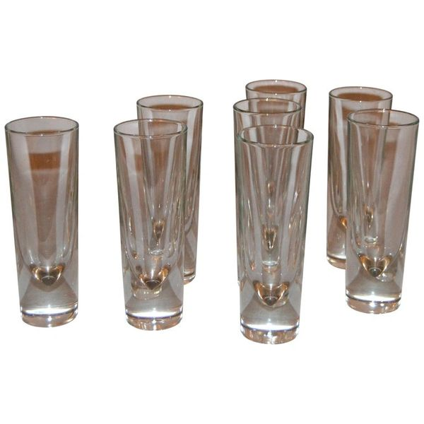 Set of 8 Carlo Moretti Modern Heavy Blown Glass Drinking Glasses Glassware Italy