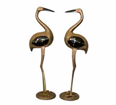 Hollywood Regency Asian Style Black Enamel & Bronze Crane Sculptures Base - Pair