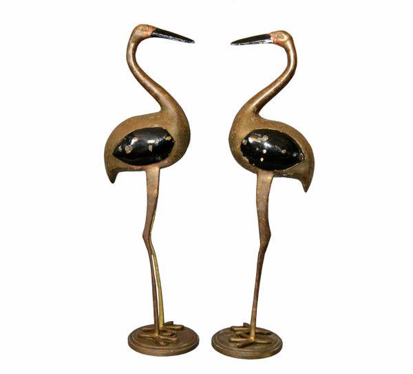 Hollywood Regency Asian Style Black Enamel & Bronze Crane Sculptures Base - Pair