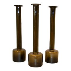 Set of 3 Danish Modern Tall Hand Blown Smoke Black Glass Vases