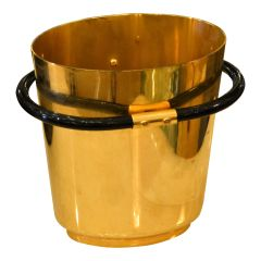 Italian Art Deco Style 24k Gold Plated on Brass Objets d'Arts Ice Bucket Vessel