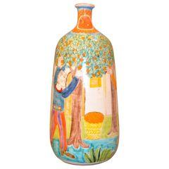 Italian Giovanni Desimone Hand Painted Art Pottery Flower Vase, Vessel Italy