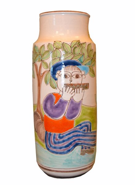 Desimone Hand Painted Tall Art Pottery Flute Player Flower Vase, Vessel Italy