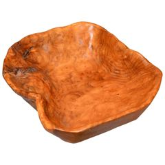 American Mid-Century Modern Handcrafted Olive Wood Rectangular Decorative Bowl