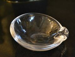 Steuben Mid-Century Modern Clear Crystal Sloping Art Glass Bowl Ashtrays, Signed