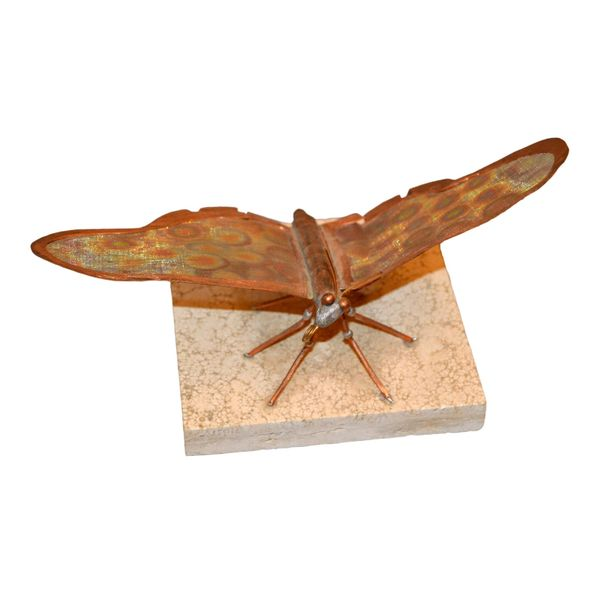 Mid-Century Modern Fine Art Sculpture Shaped Butterfly in Copper Terracotta Tile