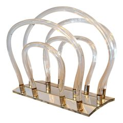Dorothy Thorpe Mid-Century Modern Magazine Rack Mirrored Glass, Lucite & Chrome