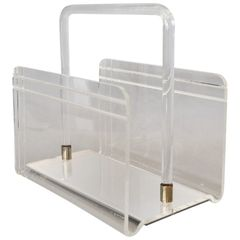 Dorothy Thorpe Vintage Magazine Rack Mirrored Glass, Lucite & Chrome