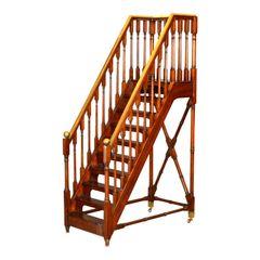 Architectural Decorative Victorian Walnut & Brass Library Steps, Ladder, Stairs