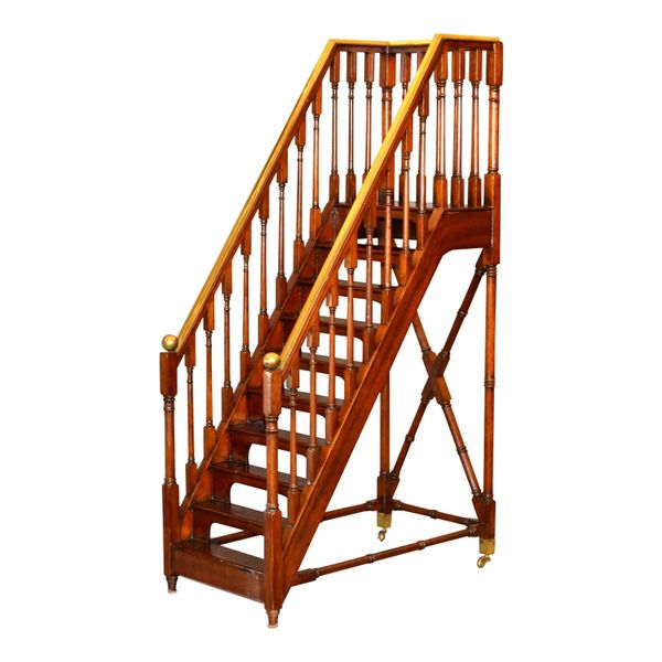 Architectural Decorative Victorian Walnut & Brass Library Steps, Ladder, Stairs