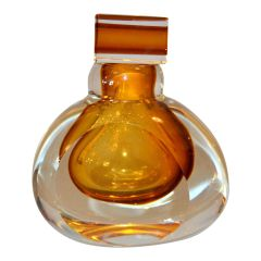 Vintage Clear & Amber Controlled Bubbles Murano Art Glass Perfume Bottle Italy