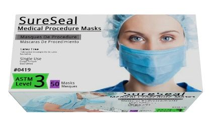 Sure Seal ASTM Level 3 Medical Ear-Loop Disposable Face Masks Pk 50 Black