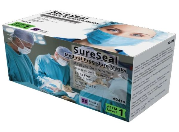 Sure Seal ASTM Level 1 White Medical Ear-Loop Disposable Face Mask