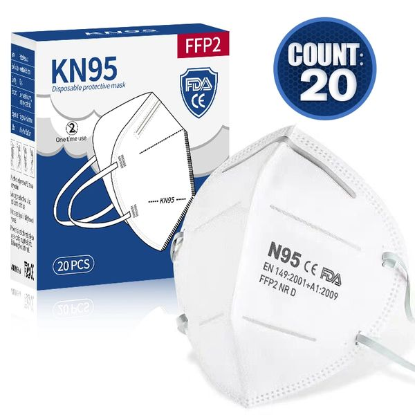FFP2 KN95 Disposable Protective Medical Respirator Face Masks Pack of 20
