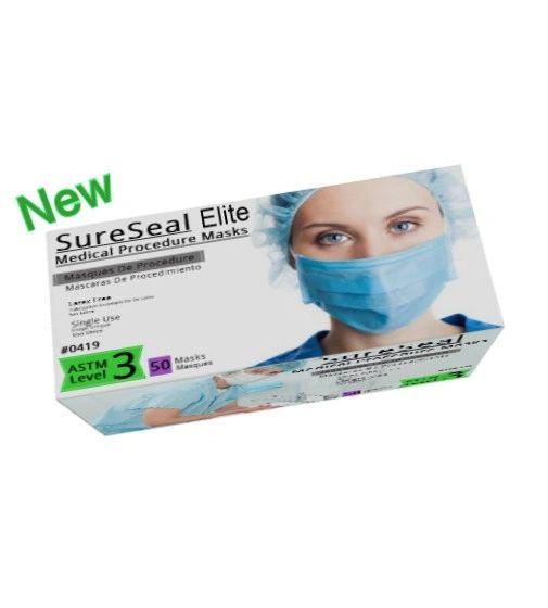 Case of 500 Sure Seal Elite Dual Fit ASTM Level 3 Fog Free Ear-Loop Face Masks