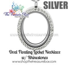 Oval Floating Locket Necklace With Rhinestones
