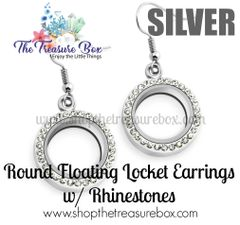 Round Floating Locket Earrings With Rhinestones