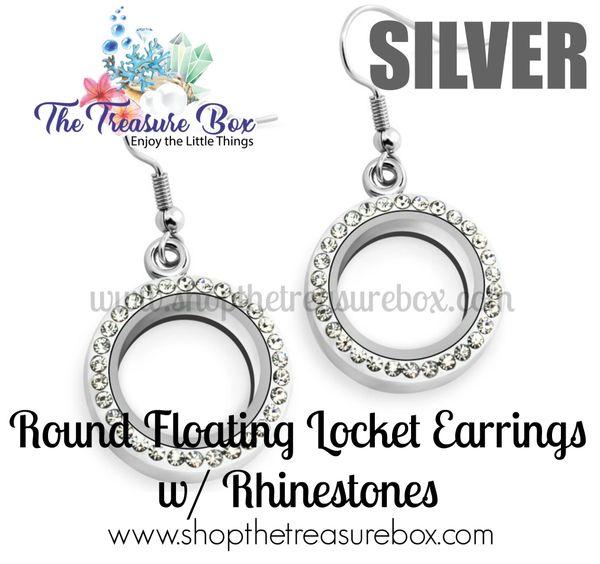 Round Floating Locket Earrings With Rhinestones