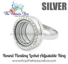 Round Floating Locket Adjustable Ring