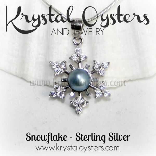 Snowflake Pearl Pendant Necklace