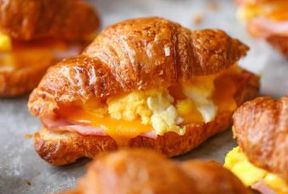 Breakfast croissants with egg Ham & cheese
