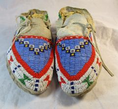 Circa 1920's Fully Beaded Sioux Moccasins