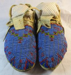 Circa 1890 Fully Beaded Sioux Moccasins #1112