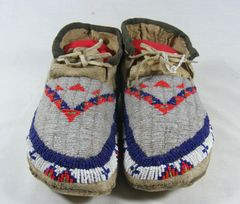 1900's Sioux Fully Beaded Moccasins Great Condition