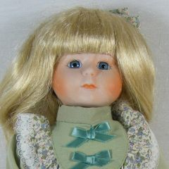 "Brinns 1986 Porcelain & Cloth 15"" Doll Blond Blue Eyes Musical Hello , Dolly NIB"