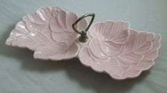 Vtg USA Pottery No. 72 Pink Veined Leaf Two Section Nut Candy Dish Metal Handle