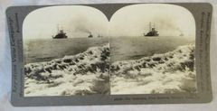 Vintage Keystone View Company Stereoview Card Battleship Fleet Hampton Roads VA