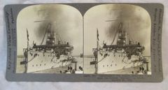 Vintage Keystone View Company Stereoview Card Indomitable English Battleship