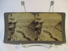 Vintage Underwood & Underwood Stereoview Card Grand Canyon and Woman on Rock