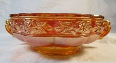 Vintage Marigold Orange Carnival Glass Bowl with Rose Pattern