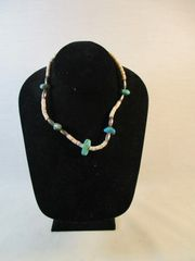 Vintage Southwestern Native American Turquoise Silver and Heishi Necklace #N5