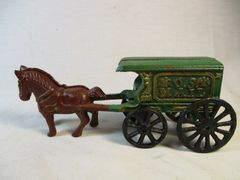 Vintage Cast Iron US Mail Horse Drawn Cart #1572