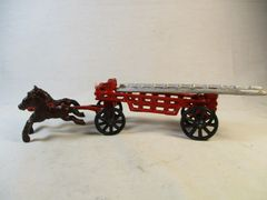 Vintage Cast Iron Horse Drawn Fire Wagon Toy #1574