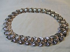 Vintage 1950's Trifari Silver Tone Necklace #CJ9001