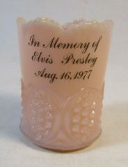 Vintage 1977 In Memory of Elvis Presley Pink Custard Toothpick Holder