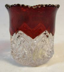 Vintage Cranberry Glass Souvenir of Sawyers Bar Toothpick Holder