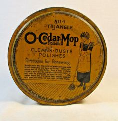 1923 O-Cedar Mop #4 Triangle Tin Yellow Brown Round Tin Empty