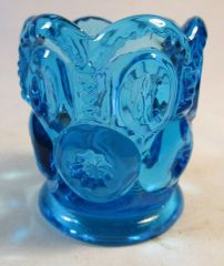 Vintage Teal Blue Glass Toothpick Holder