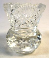 Vintage Pressed Glass Facet Cut Bulbous Crystal Glass Etched Toothpick Holder