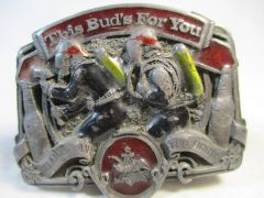 American Fire Fighter Budweiser Beer This Bud's For You Belt Buckle 1987 #6649