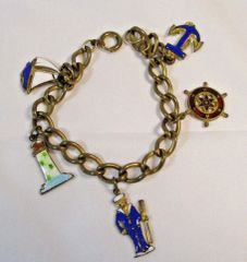 Vintage Nautical Charm Bracelet Lighthouse, Anchor, Sailor, Sailboat