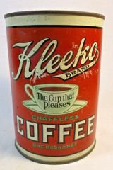 Antique Kleeko Metal Coffee Can 1 Lb. Pittsburgh, PA., Kitchen Advertising #2514